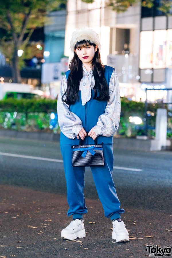 Tokyo Style w/ Furry Pillbox Hat, Zip-Up Jumpsuit, Paisley Bow Blouse, Beaded Bow Bag & Chunky Sneakers