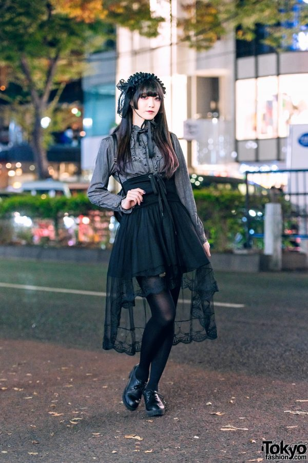 Harajuku Style w/ Handmade Headdress, Axes Femme Ruffle Blouse, Funky Fruit Skirt, Winged Backpack & ABC Mart