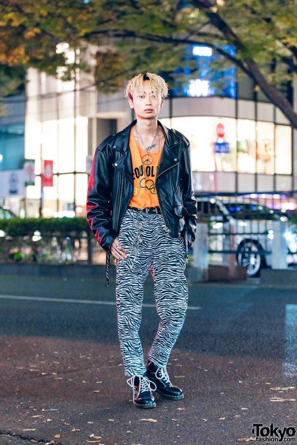 Tokyo Street Style w/ Motorcycle Jacket, Seoul Olympics Top, Zebra Print Pants & Leather Boots