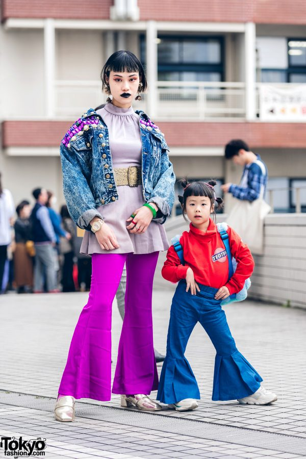 The Ivy Tokyo Mother & Daughter Street Styles w/ Floral Earrings, Vintage Studded Denim Jacket, TEGTEG Sweater, Flared Pants & Verdy x Puchu Monster Backpack