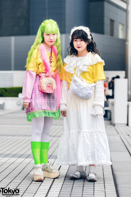 Tokyo Girls Streetwear Styles w/ Green Hair, Keisuke Kanda, Cabbage Patch Kids, Tokyo Bopper & Glitter Flats