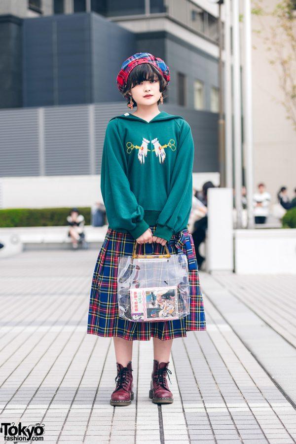 HEIHEI Japanese Street Style w/ Scissor Hands Sweater, Plaid Skirt, Vintage Bag, Plaid Beret & Dr. Martens Boots