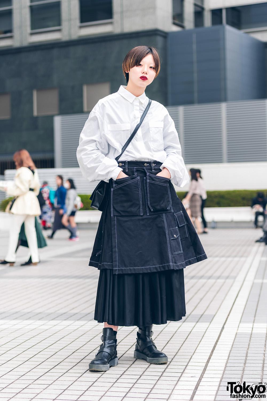 Monochrome Street Fashion w/ United Arrows, Zara, Claire's & Vintage Otoe Skirts