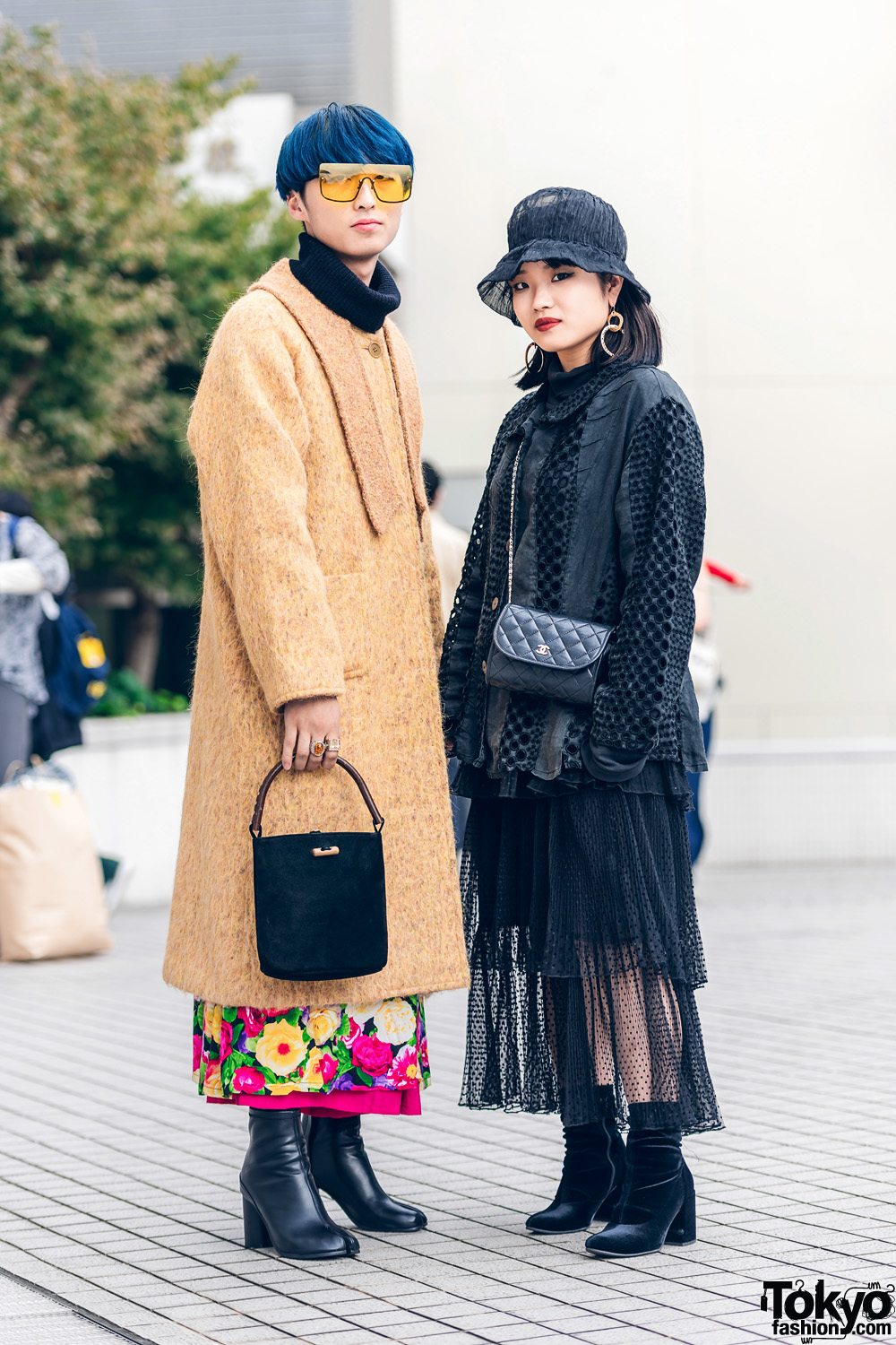 Bunka Fashion College Street Styles w/ Oversized Sunglasses, Cloche Hat, Furry Coat, Textured Eyelet Jacket, Chanel Quilted Bag & Tabi Boots