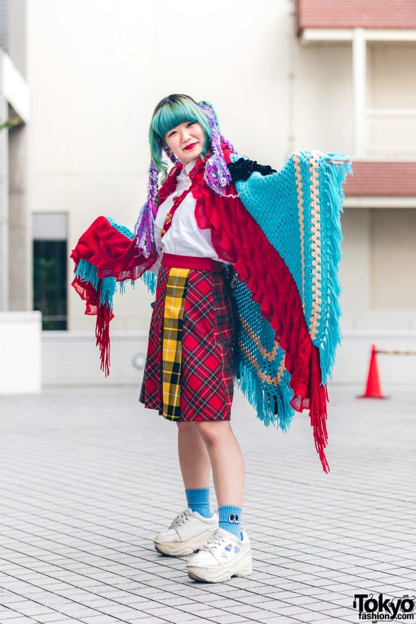 Bunk College Fashion w/ Twin Aqua Braids, Purple Hair Falls, New York Joe Knit Poncho, Handmade Plaid Skirt, Floral Felt Bag & Chunky Sneakers