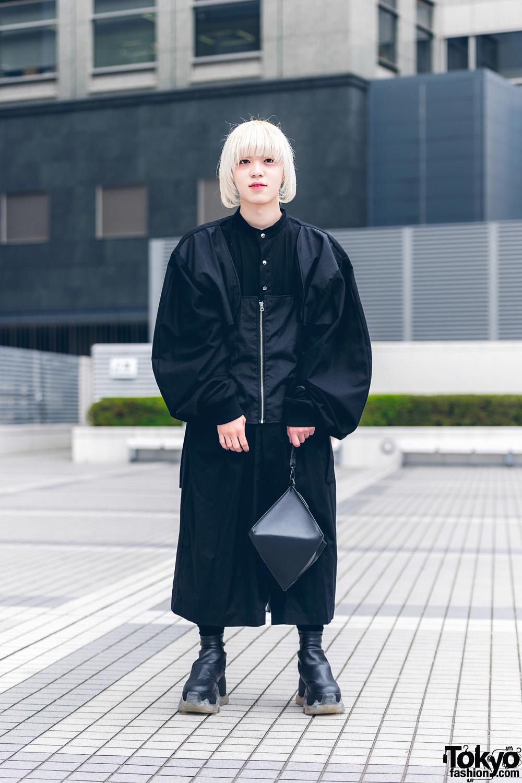 All Black Menswear w/ Platinum Blonde Bob, Neuron Nailz Tokyo, Lau Made In Japan Jacket, Comme des Garcons, Yohji Yamamoto Clutch & Swear Boots