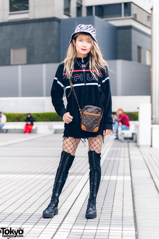 Bunka Fashion College Style w/ Zebra Print Bucket Hat, Fila Jacket, Fishnet Stockings, Tall Boots & Louis Vuitton Bag