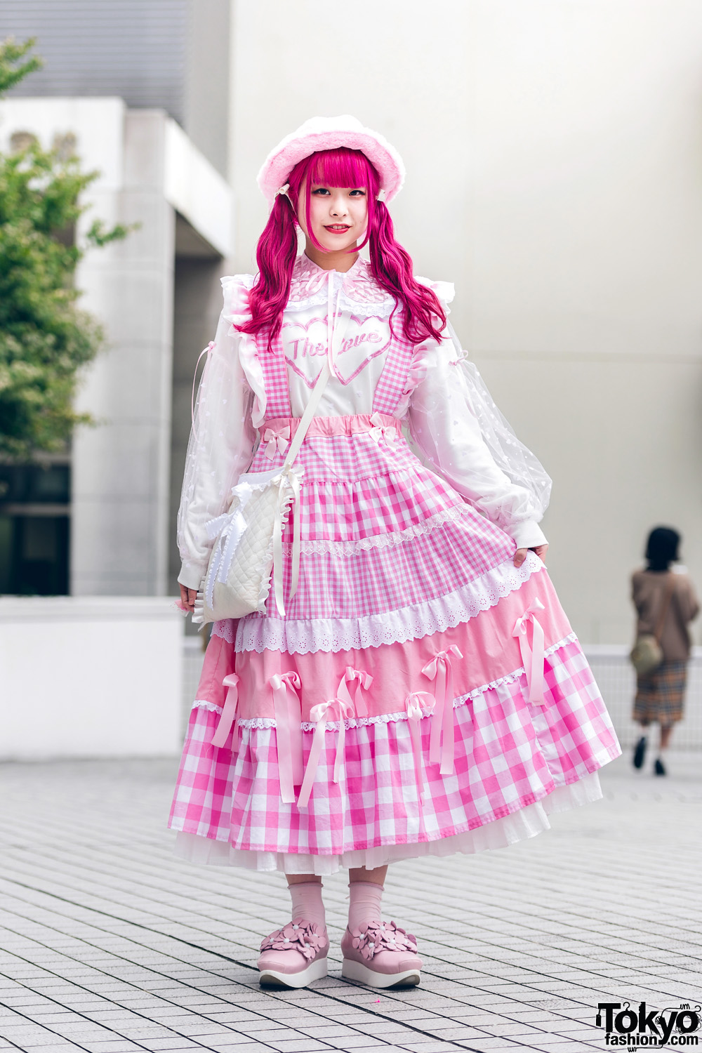 Pink Handmade Kawaii Japanese Street Style w/ Tulle Blouse, Gingham Pinafore, Quilted Bag, Fuzzy Hat, WC & Tokyo Bopper