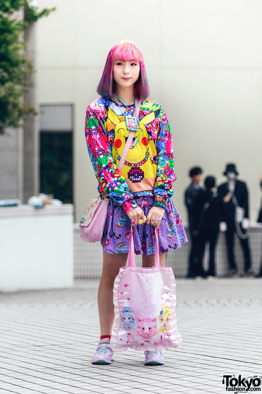 Kawaii Shinjuku Street Style w/ Pink Hair, Mixed Prints, Vintage Pikachu Top, WEGO, Rilu Rilu Fairilu, Pretty Cure & Syunsoku