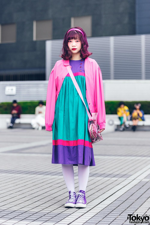Bunka Fashion College Vintage Street Fashion w/ Purple Hair, Bomber Jacket, Colorblock Dress, Mikansei Bag & Converse Sneakers