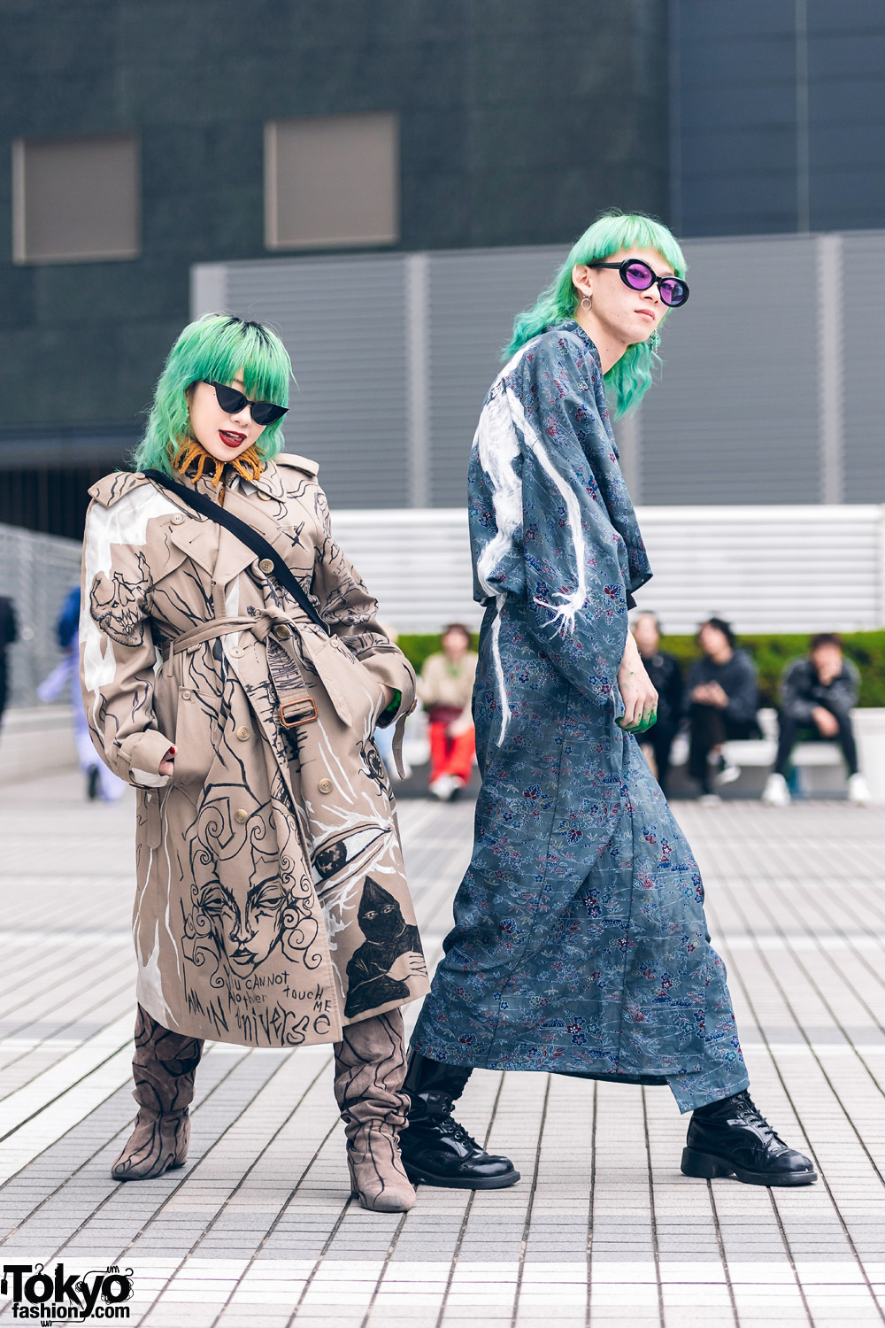 Hand Painted Mind Infection Street Fashion in Tokyo w/ Trench Coat, Skeletons Kimono, Givenchy, Gucci & Dr. Martens
