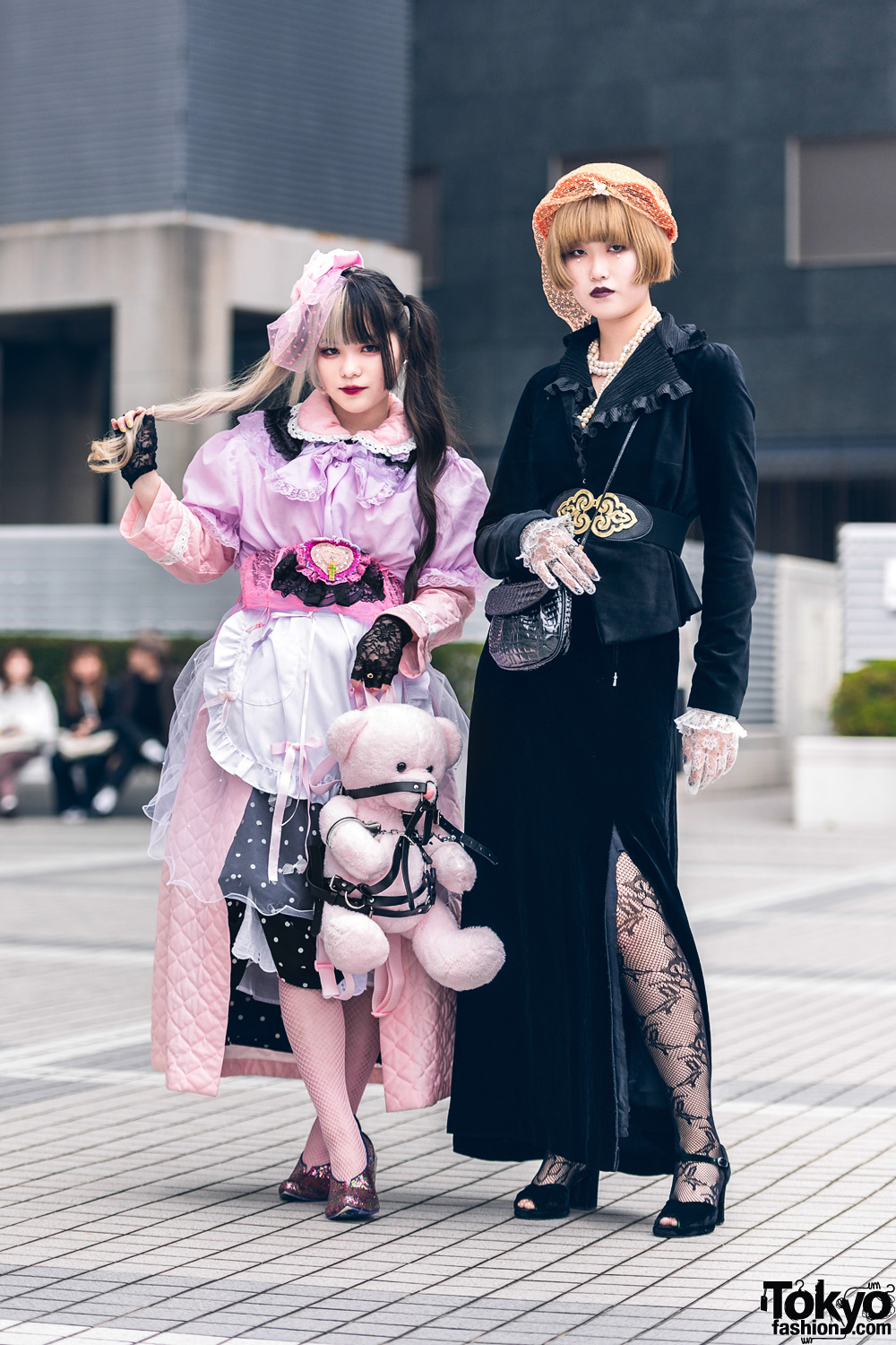 Bunka Fashion College Students' Street Styles w/ Lace Headdress, Birdcage Veil Hat, Lace Gloves, Teddy Bear Backpack, Panama Boy, Slit Skirt, Himiko & Irregular Choice Shoes