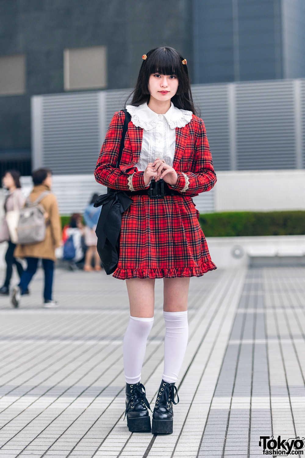 Milk Tokyo Style w/ Plaid Suit, Baby The Stars Shine Bright Ruffle Shirt, Alice On Wednesday Tote & Bubbles Platform Booties