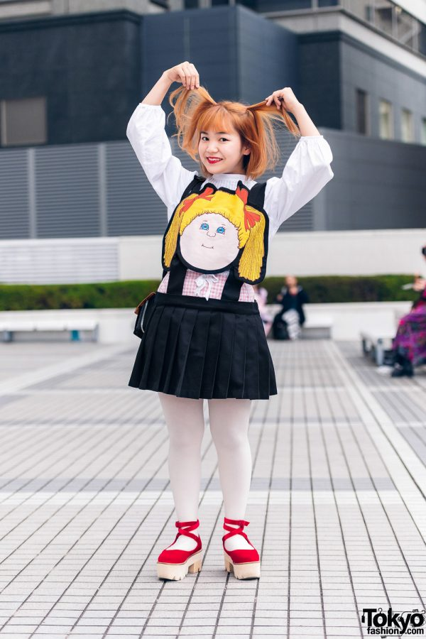 Cabbage Patch Kids Tokyo Streetwear Style w/ Zara Pleated Top, Gingham, Jenny Fax Jumper Skirt, Porter Crossbody Bag & Merry Jenny Ankle Wrap Platforms