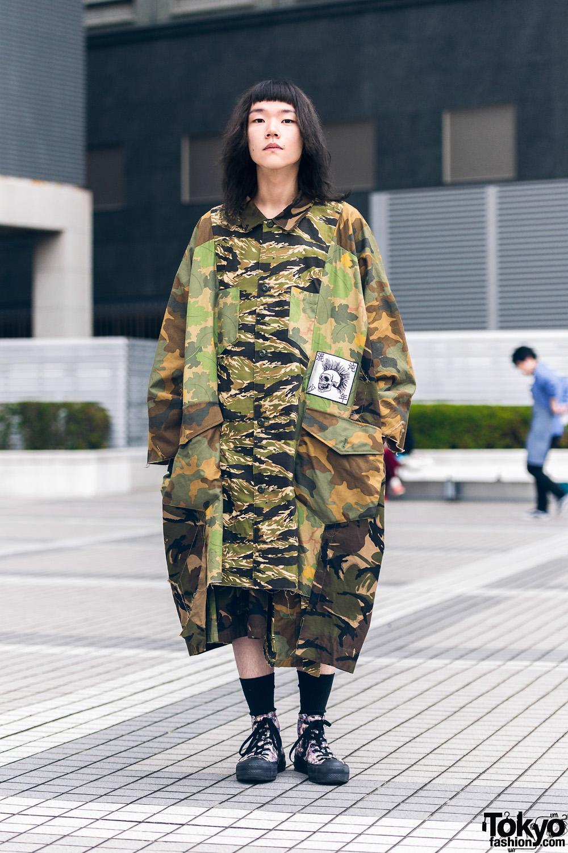 Bunka Fashion College Camouflage Print Street Style w/ Kidill & Hiro