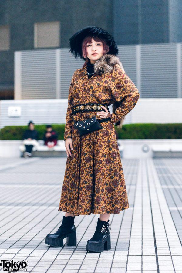 Vintage Fashion w/ Floral Print Coat, Faux Fur Scarf, Fuzzy Hat & Yosuke Boots