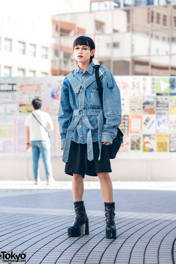 Bunka Fashion College Denim Style w/ Purple Lips, Denim Harness, Opening Ceremony, MYOB NYC, Y-3 & Naked Wolf Crocodile Patent Platforms