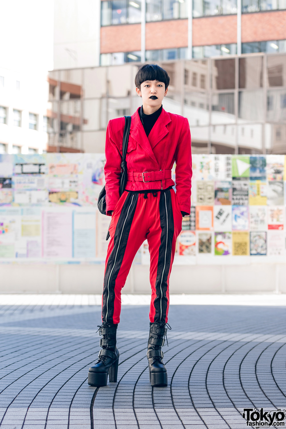 Red & Black Tokyo Street Style w/ Vintage Belted Jacket With Shoulder Pads, Open The Door Bag & Demonia Platforms