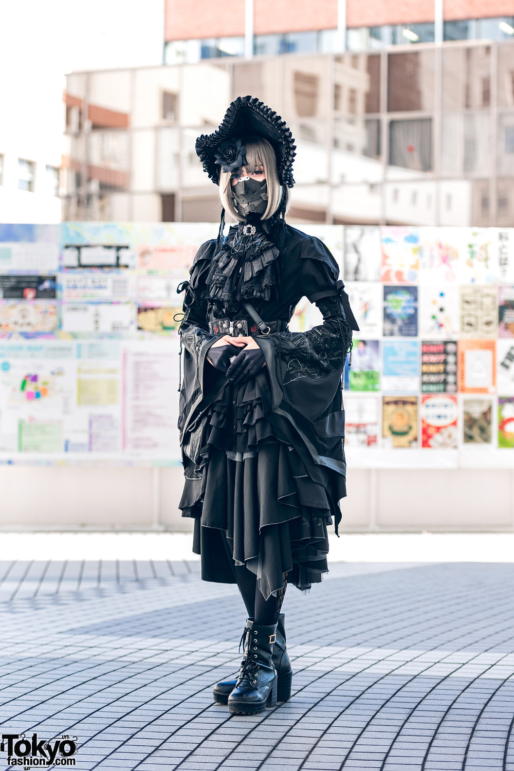 Gothic Japanese Steampunk Fashion w/ Face Mask, Bonnet, Floral Headpiece, Ruffle Shirt, Asymmetrical Skirt & Boots
