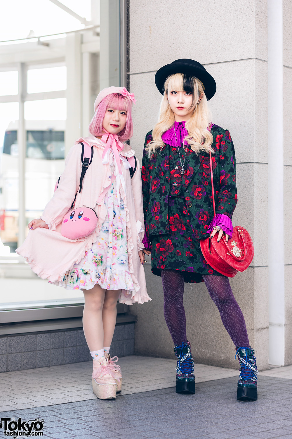 Japanese Street Styles w/ Pink Bob, Two-Tone Hair, Hats, Nile Perch, Vintage Suit, Kirby Bag, Vivienne Westwood, Alice and the Pirates, Yosuke & Swankiss