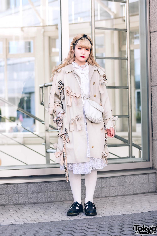 Pastel Shinjuku Street Style w/ Keisuke Kanda Coat, Ketty Pleated Blouse, The Virgin Mary Lace Dress, Little Trip To Heaven Sling & Dr. Martens Shoes