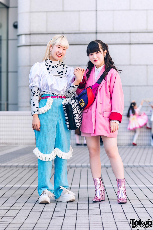 Shinjuku Girls Streetwear Styles w/ G2? Drop Earrings, Jouetie Blazer, Kobinai, Marc Jacobs Waist Bag, Tokyo Bopper & Metallic Pointy Boots