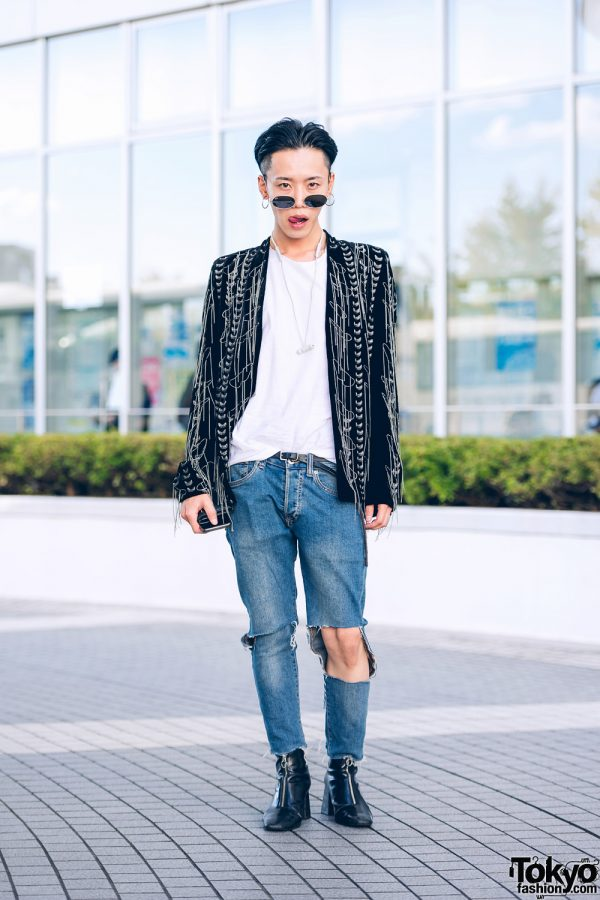 TST Designer in Shinjuku w/ Ray-Ban Sunglasses, Custom Made Fringe Jacket, Saint Laurent Cutout Jeans & Zip-Up Boots
