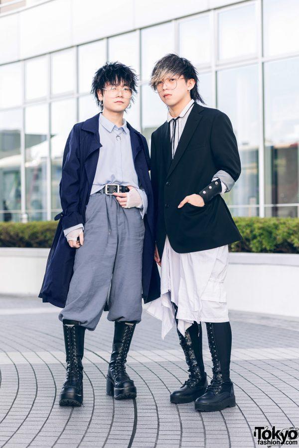 Monochrome Tokyo Menswear Styles w/ Spiky Hair, Handmade Cuff, U Dresser, H&M, Yosuke & Dolls Kill