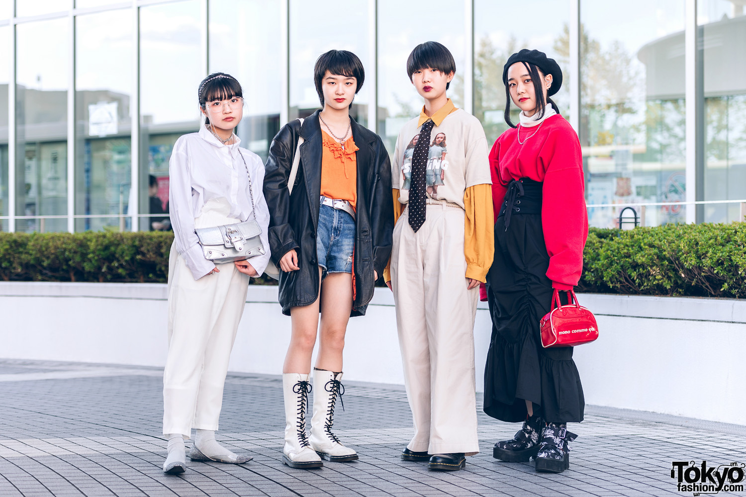 Tokyo Girls Street Styles w/ The Shining Twins, Leather Jacket, Necktie, Berrycupide, Mono Comme Ca, RRR & Vintage