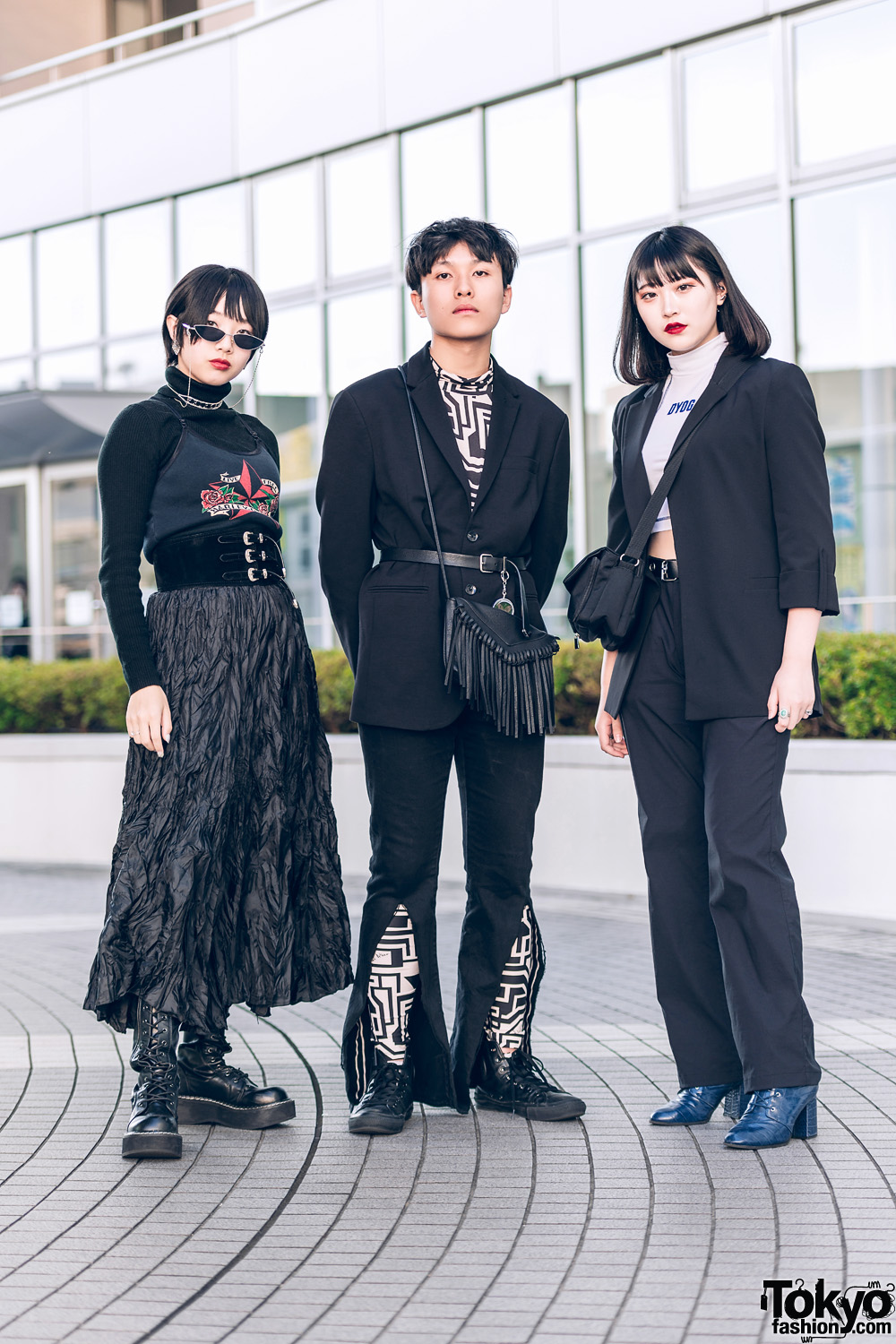 Tokyo Monochrome Streetwear Styles w/ Cat Eye Sunglasses, Belted Corset, Harley Davidson, DYOG Cropped Top, Gallerie, Zara, H&M, Bershka, Forever21, Demonia & Converse