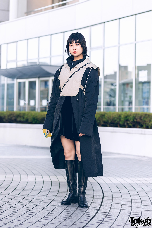 Shinjuku Girl Vintage Street Style w/ Tan Vest, Black Maxi Coat, Beautiful People Bag & Knee-High Boots