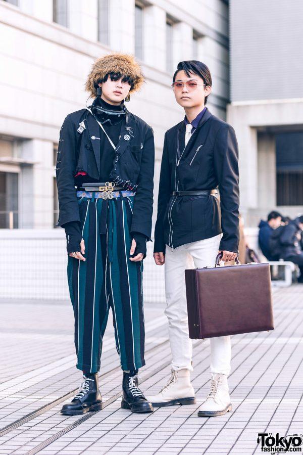 Japanese Streetwear Styles w/ Furry Hat, Goggles, Remake Fashion, Layered Belts, ESC Studio, Civarize, Calvin Klein, Leather Briefcase & Dr. Martens