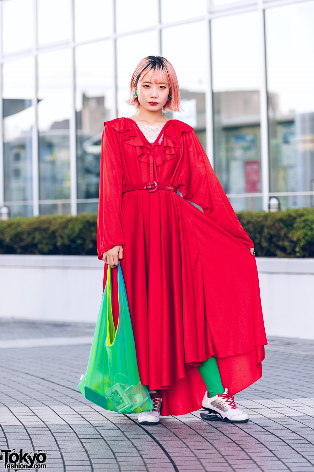 Bunka Fashion College Colorful Vintage Street Style w/ Red Dress, Spring Heel Sneakers & Shinkirou Bag