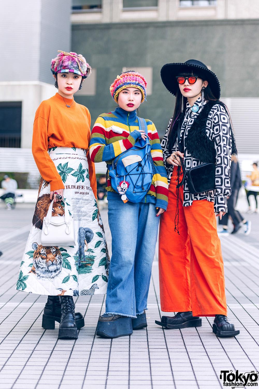 Tokyo Girls in Colorful Street Styles w/ Furry Cap, Wide Brim Hat, Knit Beanie, Vivienne Westwood, Calico, Vintage & Handmade Fashion