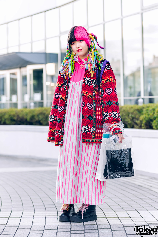 Kawaii Vintage Street Fashion w/ Colorful Twin Braids, WEGO & Candy Stripper