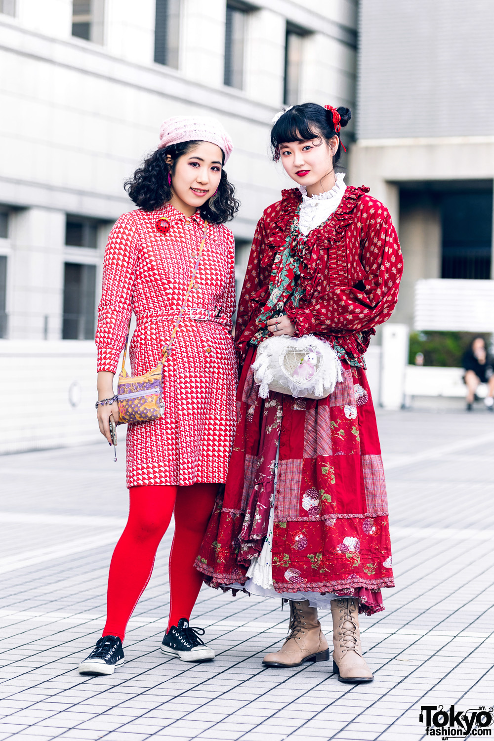 Red Tokyo Street Styles w/ Twin Buns, Knit Hat, Houndstooth Belted Dress, Floral Prints, Handmade Fashion, Pink House & Bed JW Ford