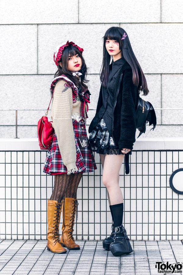 Plaid Tokyo Streetwear Styles w/ Plaid Headpiece, Shimamura Furry Monster Jacket, Plaid Collar, Jun Takahashi, Winged Backpack & Demonia Caged Platforms
