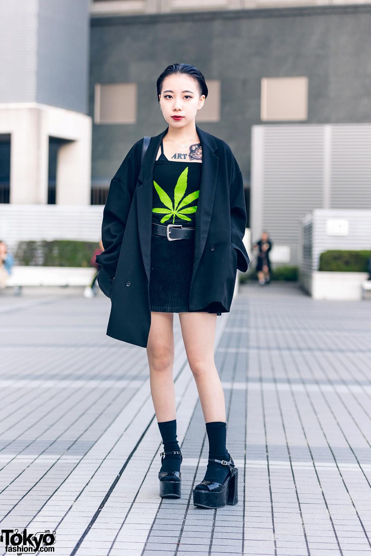 All Black Tokyo Girl Vintage Street Style w/ Tattoos, Hare, DKNY, Office Kiko & Pinnap