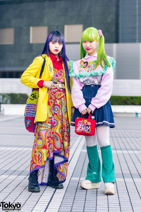 Colorful Hair & Sailor Moon Tokyo Street Styles w/ Purple Hair, Green Twin Tails, Handmade Fashion, Tokyo Bopper & Dr. Martens