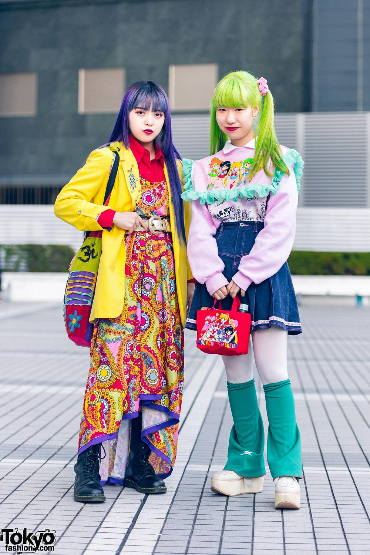 Colorful Hair & Sailor Moon Tokyo Street Styles w/ Purple Hair, Green Twin Tails, Handmade Fashion, Tokyo Bopper & Dr. Martens