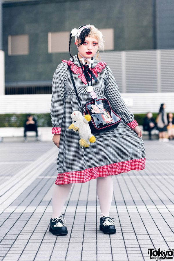 Nile Perch Tokyo Street Style w/ Half Color Braids, Handmade Headdress, Hair Pompoms, Gingham Dress, Mickey Mouse Bag & Yosuke Creepers