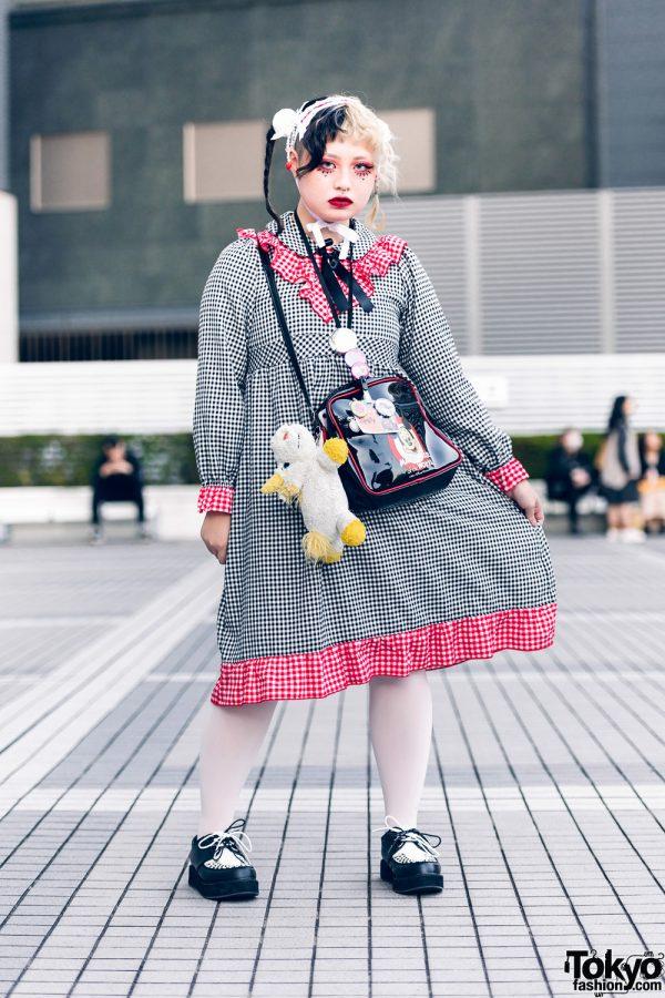Nile Perch Tokyo Street Style w/ Half Color Braids, Handmade Headdress, Hair Pompoms, Gingham Dress, Mickey Mouse Bag & Yosuke Creepers