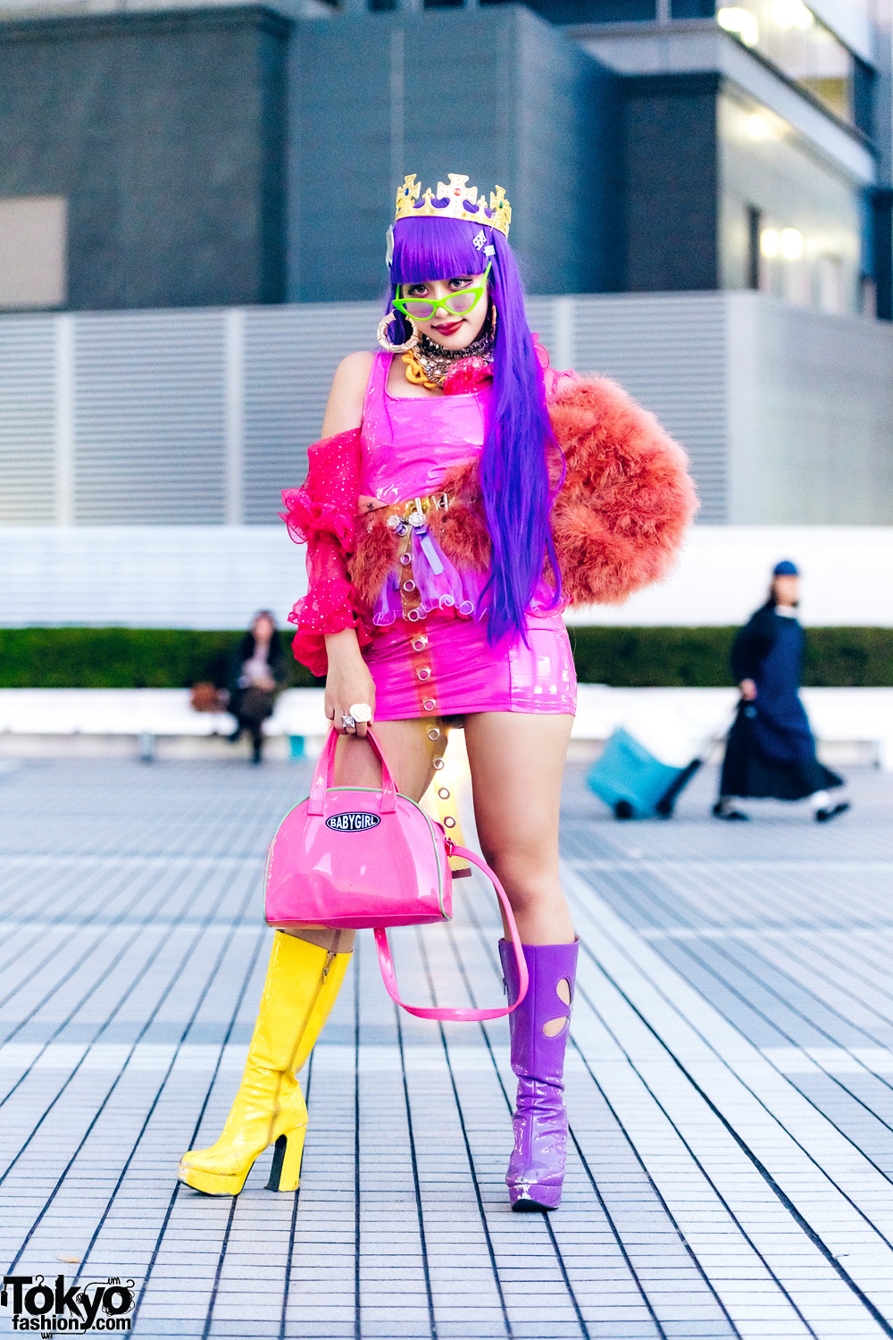 Colorful Tokyo Street Fashion w/ Purple Hair, Gold Crown, Vinyl Mini Dress, Gallerie & Office Kiko Patent Boots