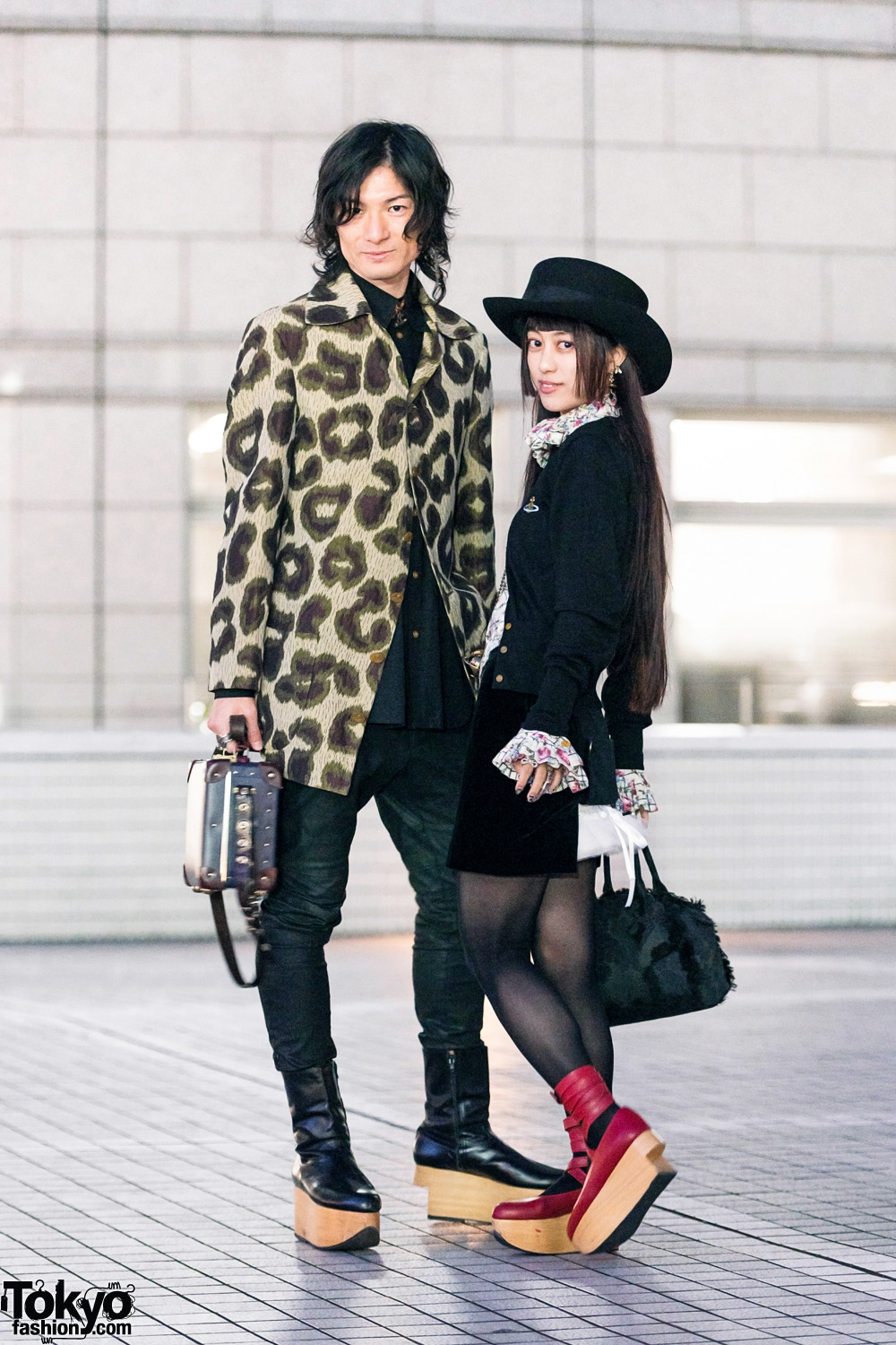 Vivienne Westwood Tokyo Street Fashion w/ Wide Brim Hat, Leopard Print Coat, Cardigan, Ruffle Blouse, Leather Briefcase & Rocking Horse Shoes