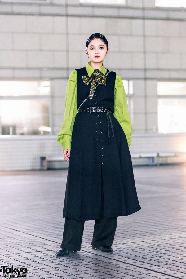 Chic Tokyo Vintage Street Style w/ Green Top, Black Dress & Zara Shoes