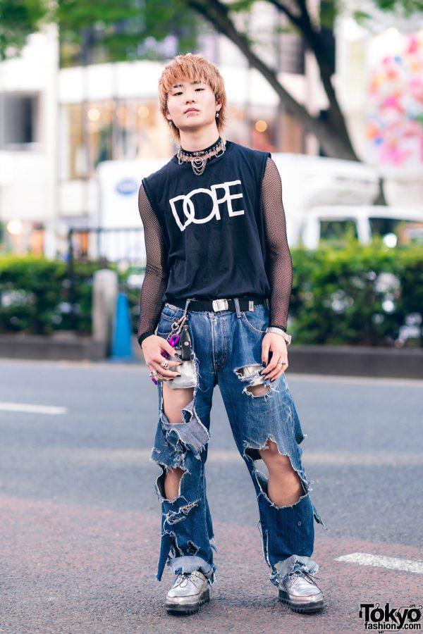 Harajuku Guy w/ Dope Shirt, Mesh Sweatshirt, Ripped Jeans & John Lawrence Sullivan Shoes