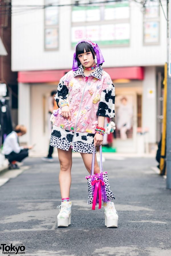 Handmade Kawaii Street Style in Harajuku w/ Floral Choker, Fuzzy Toys Dress, Candy Bracelets, Dalmatian Print Tote & Platform Boots