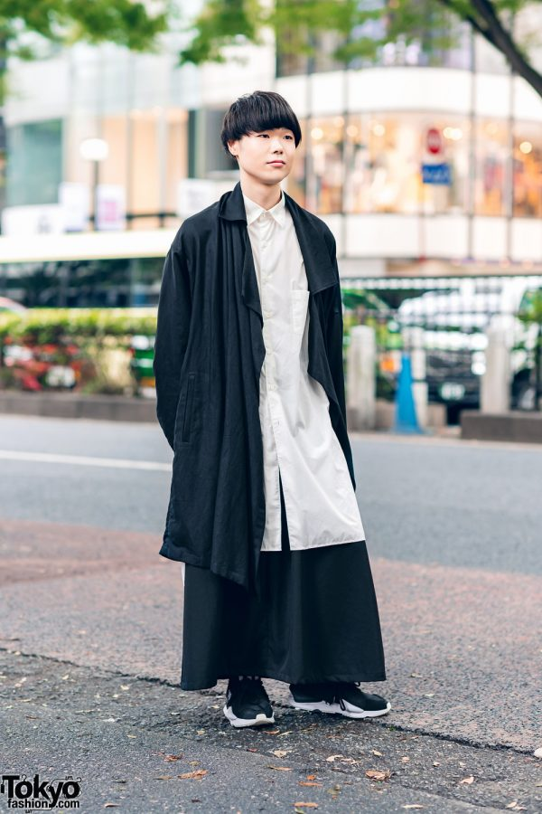 Yohji Yamamoto Monochrome Menswear Street Style w/ Blunt Bob, Asymmetric Coat, Long Shirt, Maxi Skirt & Two-Tone Sneakers