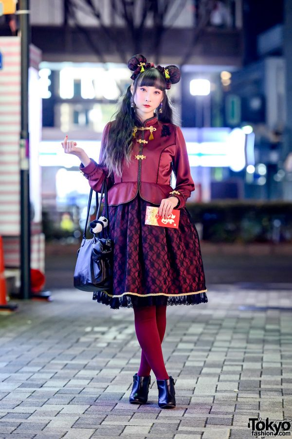 Chinese New Year Inspired Japanese Lolita Fashion by Angelic Pretty in Harajuku