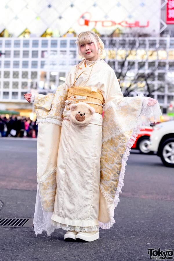 Handmade Japanese Kimono on the Street in Tokyo For Coming of Age Day